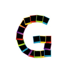 Alphabet G with colorful polaroids vector image