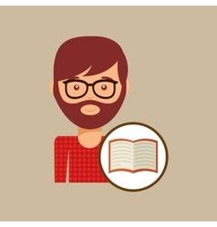 Book literature reading man hipster vector