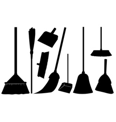 brooms vector image