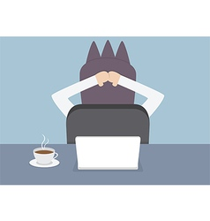 Businessman relaxing in the office at his desk vector