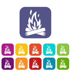 Campfire icons set vector