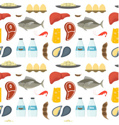 cartoon food with vitamin b12 background pattern vector image