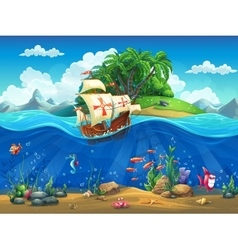 Cartoon underwater world with fish plants island vector