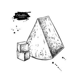 Cheddar cheese drawing hand drawn food vector