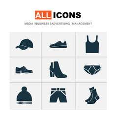 clothes icons set collection of singlet trilby vector image vector image