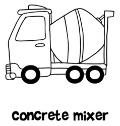 Concrete mixer cartoon hand draw vector