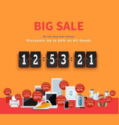 Countdown Big Discounts Flat Design vector image vector image
