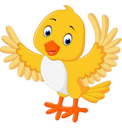 cute yellow bird cartoon vector image vector image