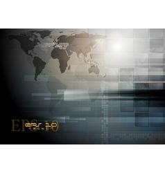 Dark technology world map design vector image vector image