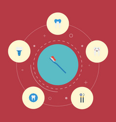Flat icons hygiene enamel dental crown and other vector
