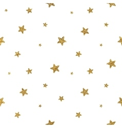 Grunge seamless pattern of gold glitter stars vector image