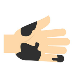 Hand with dirty stains icon isolated vector