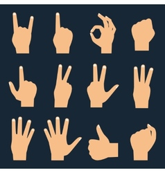 Hands flat icons set vector image