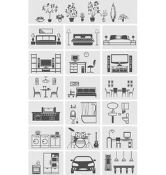 House interior elements silhouette vector
