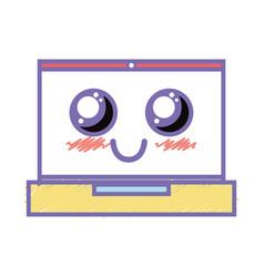 Kawaii cute happy laptop technology vector