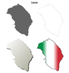 Lecce blank detailed outline map set vector