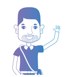 line avatar man with hairstyle and t-shirt vector image