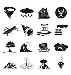 Natural disaster icons set black simple style vector image