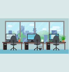 Office room with workplaces big window and vector