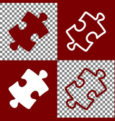 Puzzle piece sign bordo and white icons vector