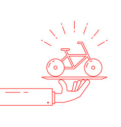 Red thin line hand holding bicycle on dish vector