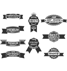 Set of 9 retro premium quality labels and badges vector