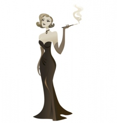 Smoking babe vector