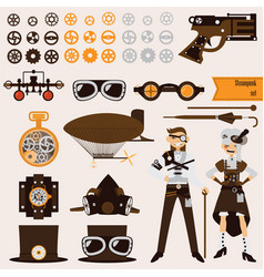 steampunk objects and characters set airship vector image
