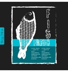 template for fish menu with retro effect vector image vector image