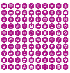 100 creative marketing icons hexagon violet vector