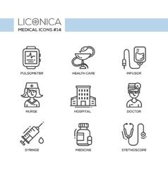 Medicine - thin line design icons pictograms vector image