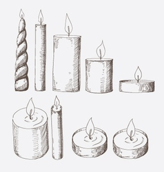 Collection of candles isolated on a white vector image
