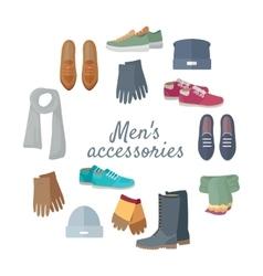 Man s Accessories Concept in Flat Design vector image