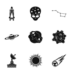 Outer space icons set simple style vector image