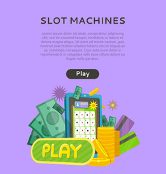 Slot machine web banner isolated with play button vector