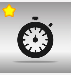 Black stopwatch timer icon button logo symbol vector