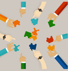 Team work hand holding pieces of jigsaw puzzle try vector