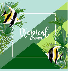 Tropical fish summer banner graphic background vector