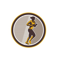 Female marathon runner side view retro vector