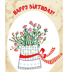 Vintage birhday card with flower pot bow vector