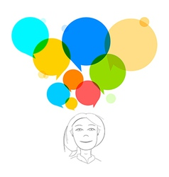 Business woman with colorful speech bubbles vector