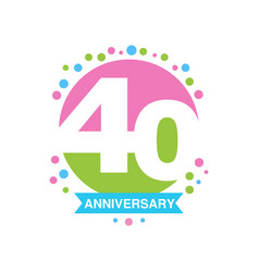 40th anniversary colored logo design happy vector