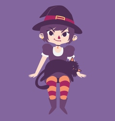 Cute witch with a black cat laying on her lap vector