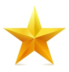 Single golden star shine on white background vector