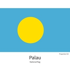 National flag of palau with correct proportions vector