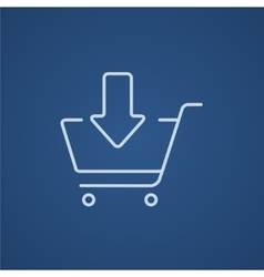 Online shopping cart line icon vector
