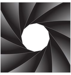 Photo diaphragm open over white vector image