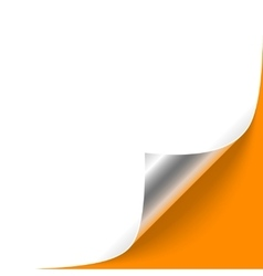 Curled silver corner on orange background vector
