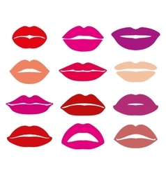 Womans lip with red lipstick set vector