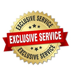 Exclusive service 3d gold badge with red ribbon vector